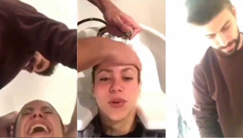 Piqué costretto a fare lo shampista per Shakira