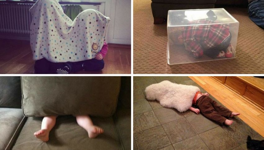 10 divertenti bambini che non sanno giocare a nascondino