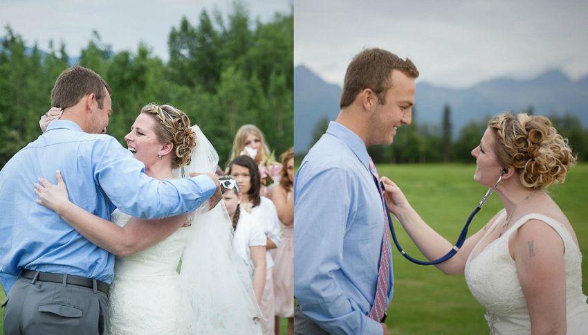 La sposa incontra l'uomo che vive grazie al cuore di suo figlio