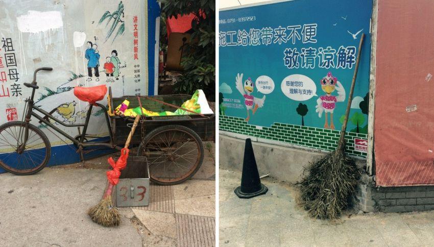 Esiste un blog dedicato alle scope lasciate per strada in Cina