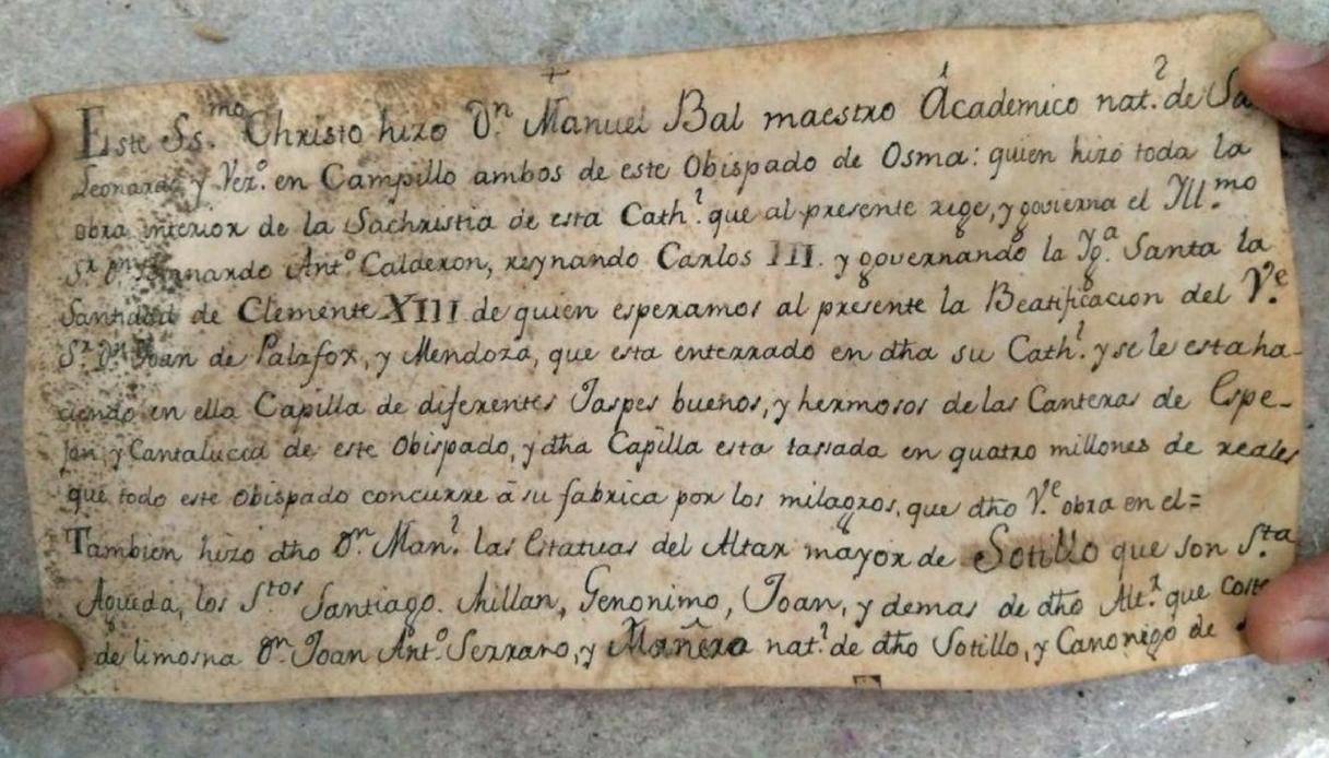 Spagna, trovato messaggio di 300 anni fa in una statua di Gesù