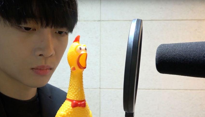 Il cantante pop coreano che si esibisce con un pollo di gomma