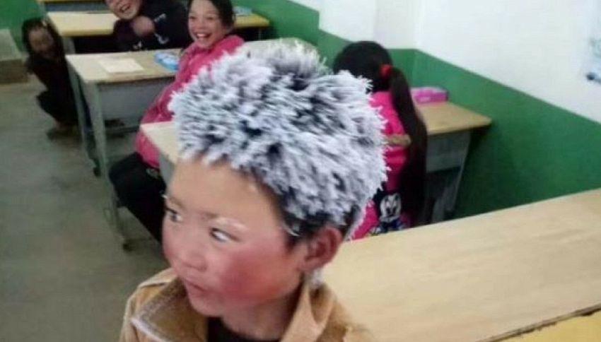 Bimbo percorre 4 km a piedi al gelo per andare a scuola