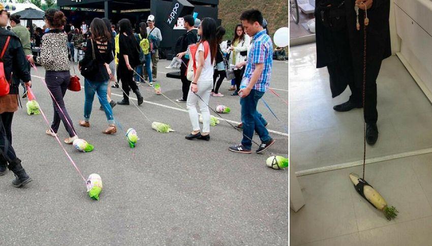 In Cina i teenager portano al guinzaglio la verdura