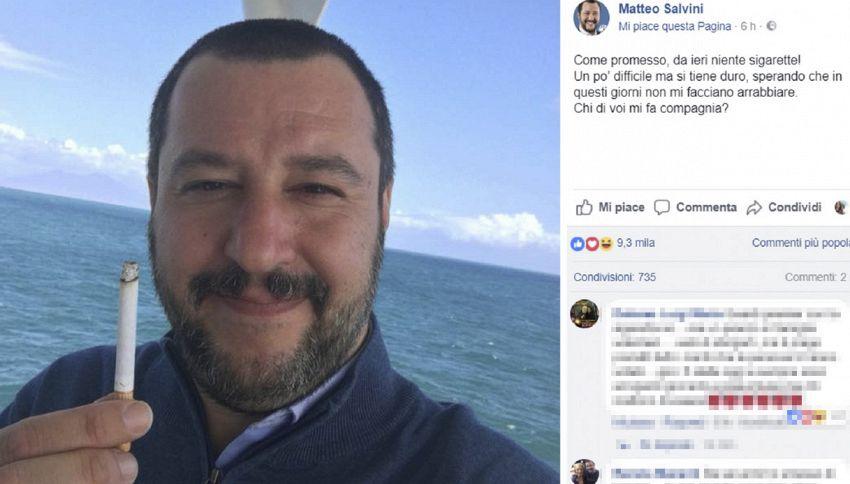 Tutte le volte che Matteo Salvini ha smesso di fumare
