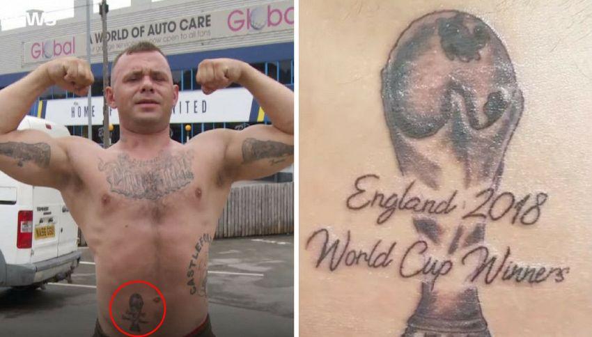 Si tatua la Coppa del Mondo, ma la sua squadra viene eliminata