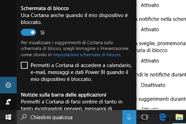 Cortana e schermata di blocco