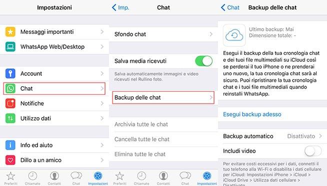 Backup WhatsApp su iCloud
