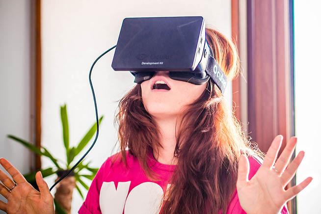 Oculus Rift in testa