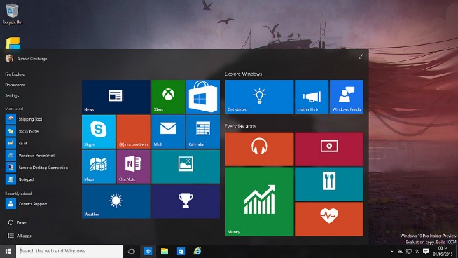 La home di Windows 10