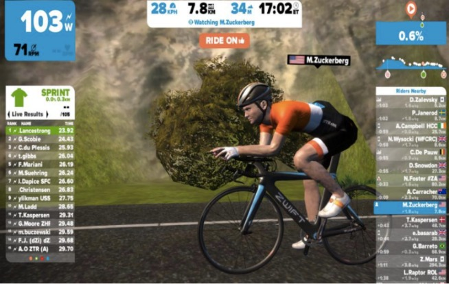 L'interfaccia di Zwift