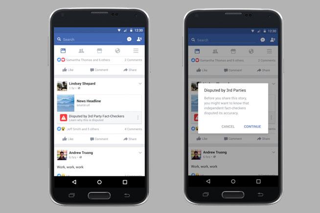 Notizie false su Facebook evidenziate