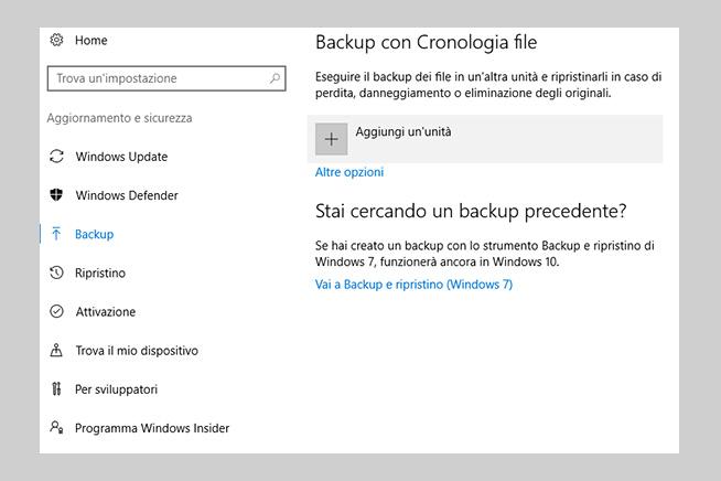 Come fare il backup tramite il File History