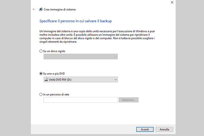 Come creare un backup di sistema con Windows