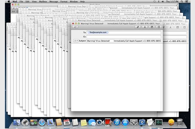 Screenshot di un Mac infettato