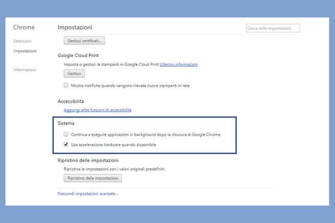 Come migliorare le prestazione di Google Chrome