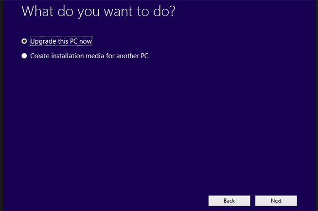 Aggiornamento a Windows 10 con il Media Creation Tool