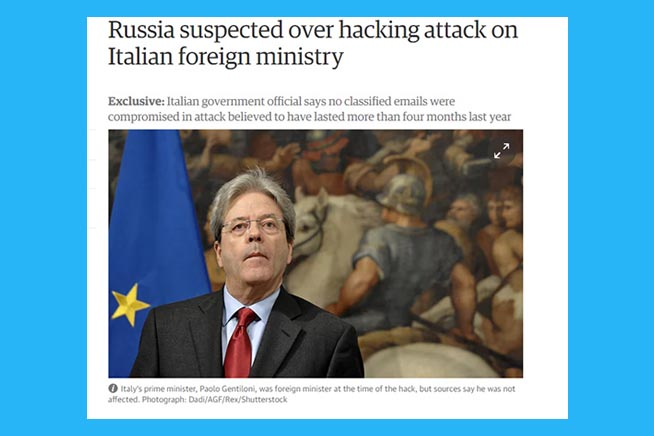 Notizia dell'attacco hacker sul quotidiano The Guardian