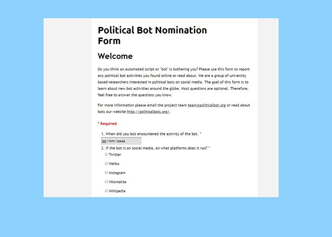 Ecco il form di Political Bots dove inoltrare la propria segnalazione