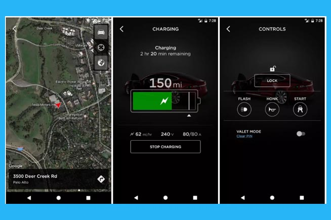 Screenshot nuova app Tesla
