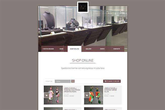 Home page di sito ecommerce creato con Libero Pages