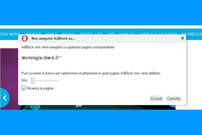 3.Apparirà un nuova finestra sullo schermo e si dovrà premere su Escludi per inserire il sito web nella whitelist.
