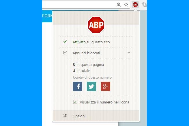 1.Premere sull'icona in alto a destra con la scritta ABP;