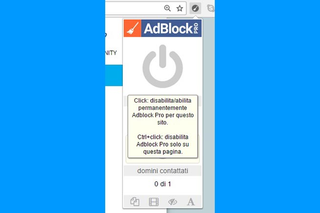 2.Cliccando sull'interruttore blu si disabiliterà Adblock Pro sul sito specifico