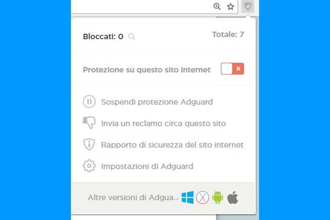 """2.Nella finestra che si aprirà, si dovrà cliccare sulla voce """"Protezione su questo sito internet"""" per disabilitare l'adblocker"""