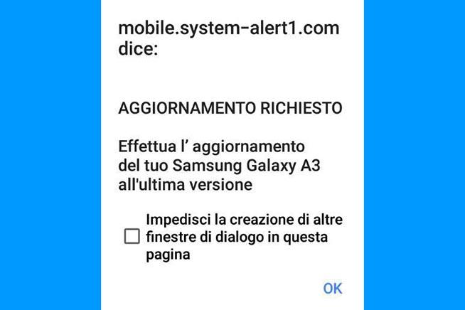 Uno dei messaggi con cui gli hacker cercano di rubare i dati agli utenti