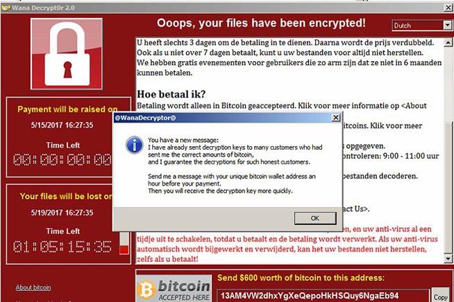 Il secondo messaggio che spaventa gli utenti infettati da WannaCry