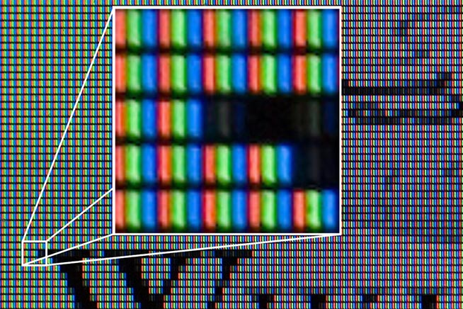 Particolare dei pixel di un monitor LCD