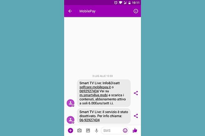 Il messaggio arrivato sullo smartphone quando l'abbonamento è stato attivato