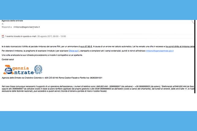 Ecco la mail di phishing architettata dagli hacker
