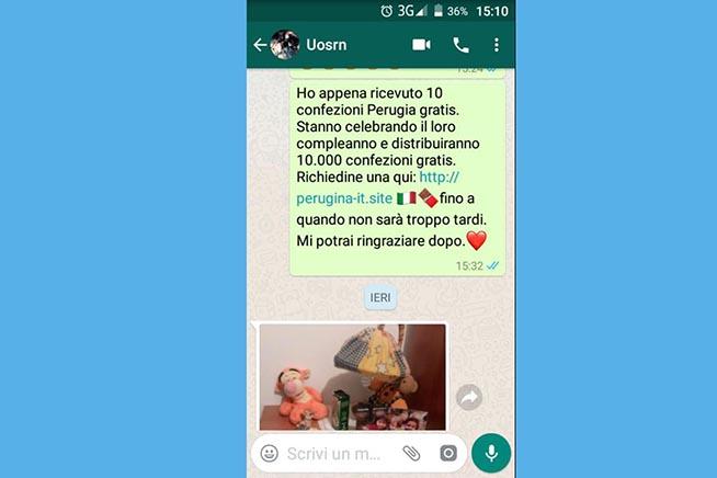 Il messaggio utilizzato dai truffatori su WhatsApp