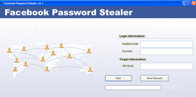 L'interfaccia del software-virus Facebook che promette di rubare password