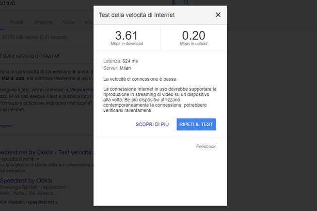 Test velocità di Google