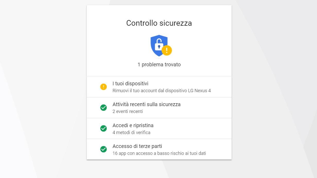 Google, Controllo sicurezza aiuta a trovare vulnerabilità nell'account