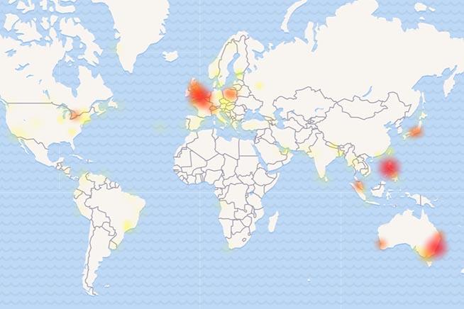 Le zone più colpite dal malfunzionamento di Facebook Messenger