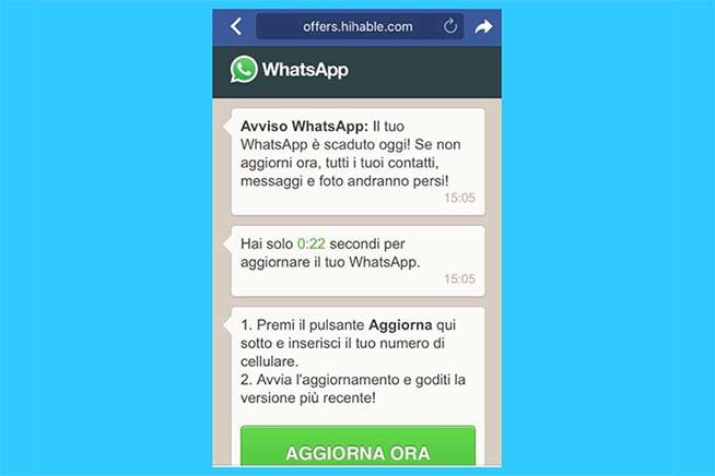 FalsoI messaggi del falso aggiornamento WhatsApp