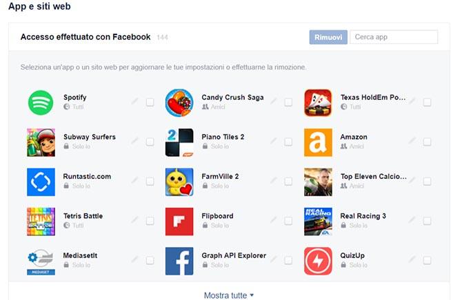 Le app di Facebook che hanno accesso ai propri dati