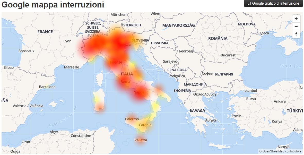 Google non funziona in Italia, la mappa