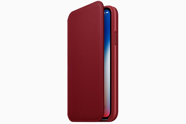 custodia pelle folio iphoje x product red