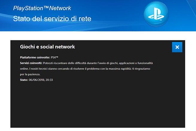 playstation network non funziona